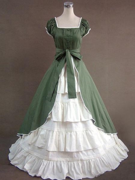 Milanoo Victorian Dress Costume Green Short Sleeves Women's Victorian era Clothing Retro Costumes Dress Halloween
