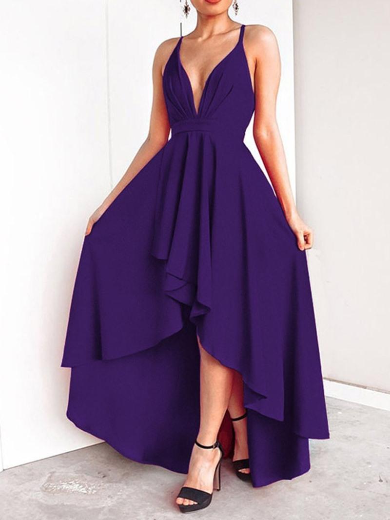 Ericdress Swallowtail Sleeveless Asymmetric Floor-Length Elegant Spaghetti Strap Dress