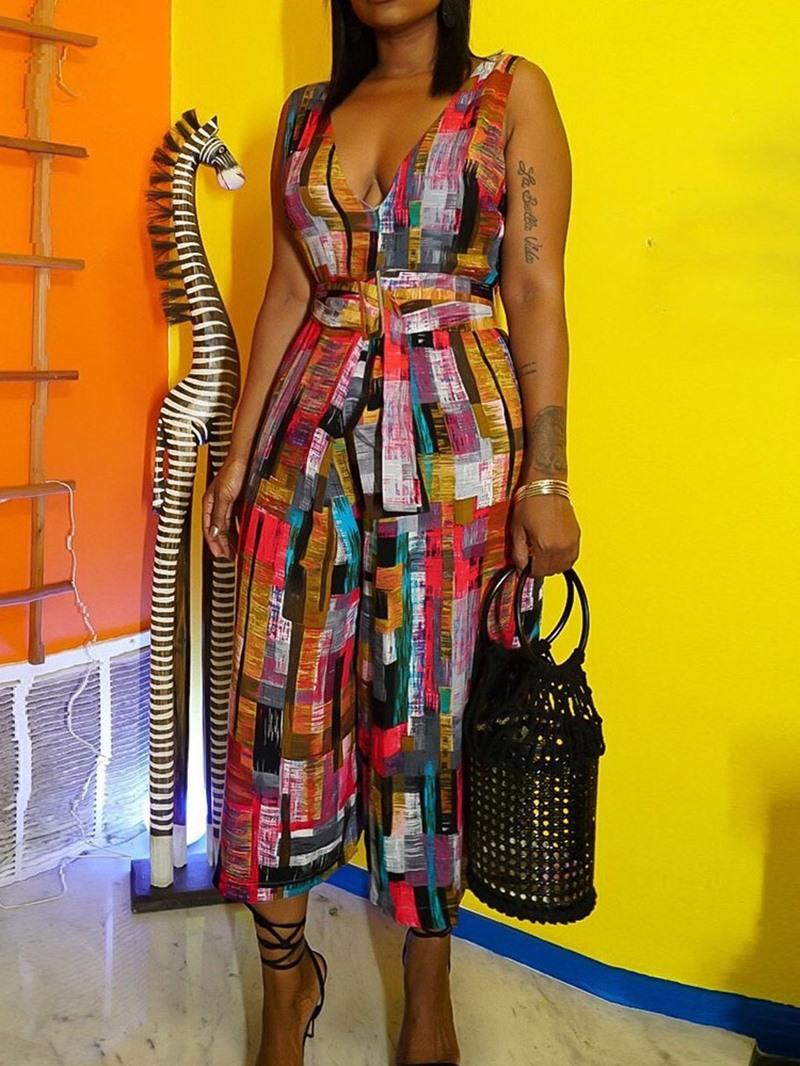 Ericdress African Fashion Color Block Print Slim Wide Legs Jumpsuit