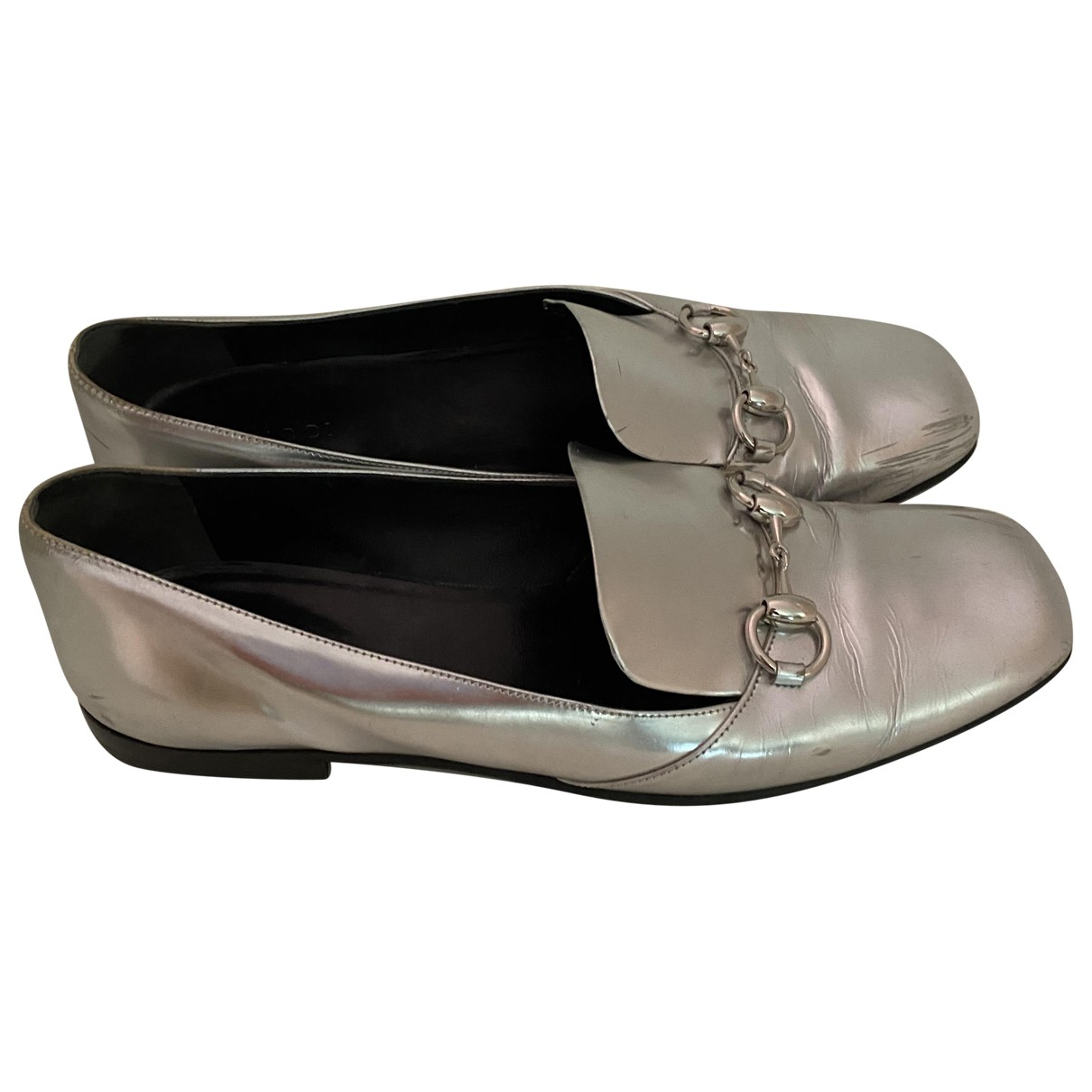 Gucci \N Silver Leather Flats for Women 40 EU