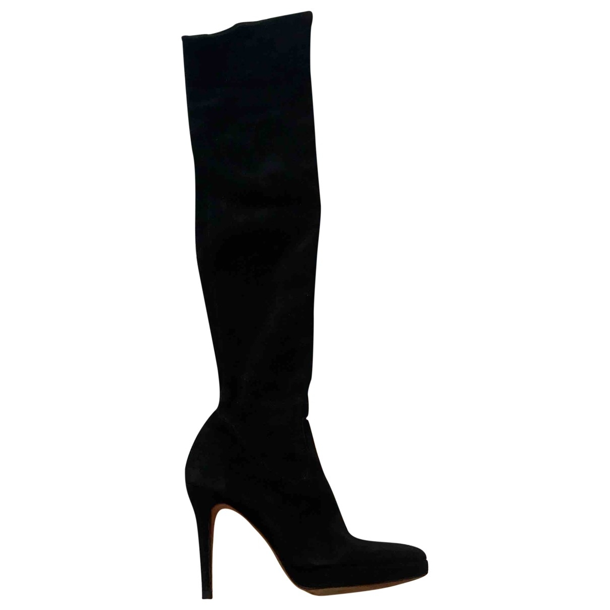 Non Signé / Unsigned \N Black Suede Boots for Women 36 EU