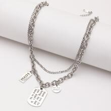 Men Geometric Charm Layered Necklace