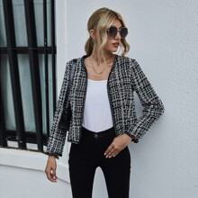 Plaid Open Front Tweed Jacket