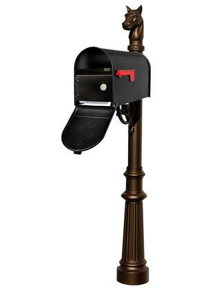 LPST-E1-LKIT-801-BRZ Lewiston Equine post system with E1 Economy mailbox and E1 Locking Insert  mounting plate  fluted base and horsehead
