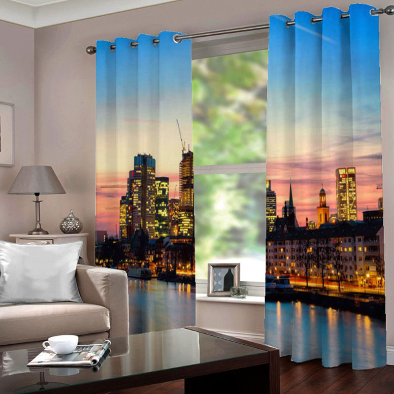 3D Room Darkening Blackout and Decorative Curtains Thick Shading Polyester No Pilling No Fading No off-lining 2 Panel Set 80 Inches Wide and 84 Inches