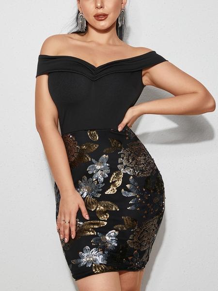 YOINS Black Sequins Random Floral Off The Shoulder Short Sleeves Dress
