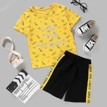 Toddler Boys Slogan Graphic Tee With Track Shorts