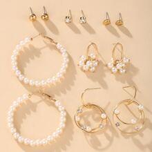 6pairs Faux Pearl Beaded Earrings