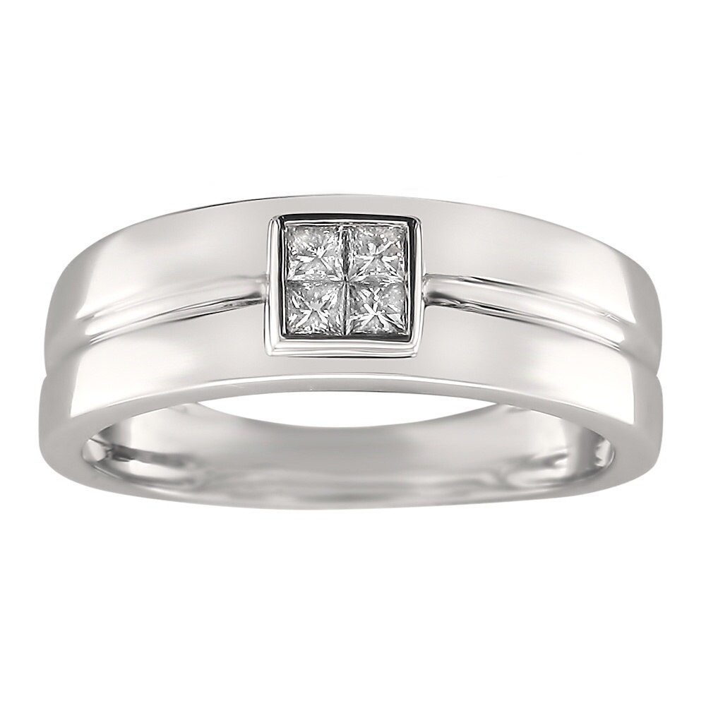 Montebello 14k White Gold Men's 1/4ct TDW Princess-cut Diamond Wedding Band (G-H, SI1-SI2) (9.5)