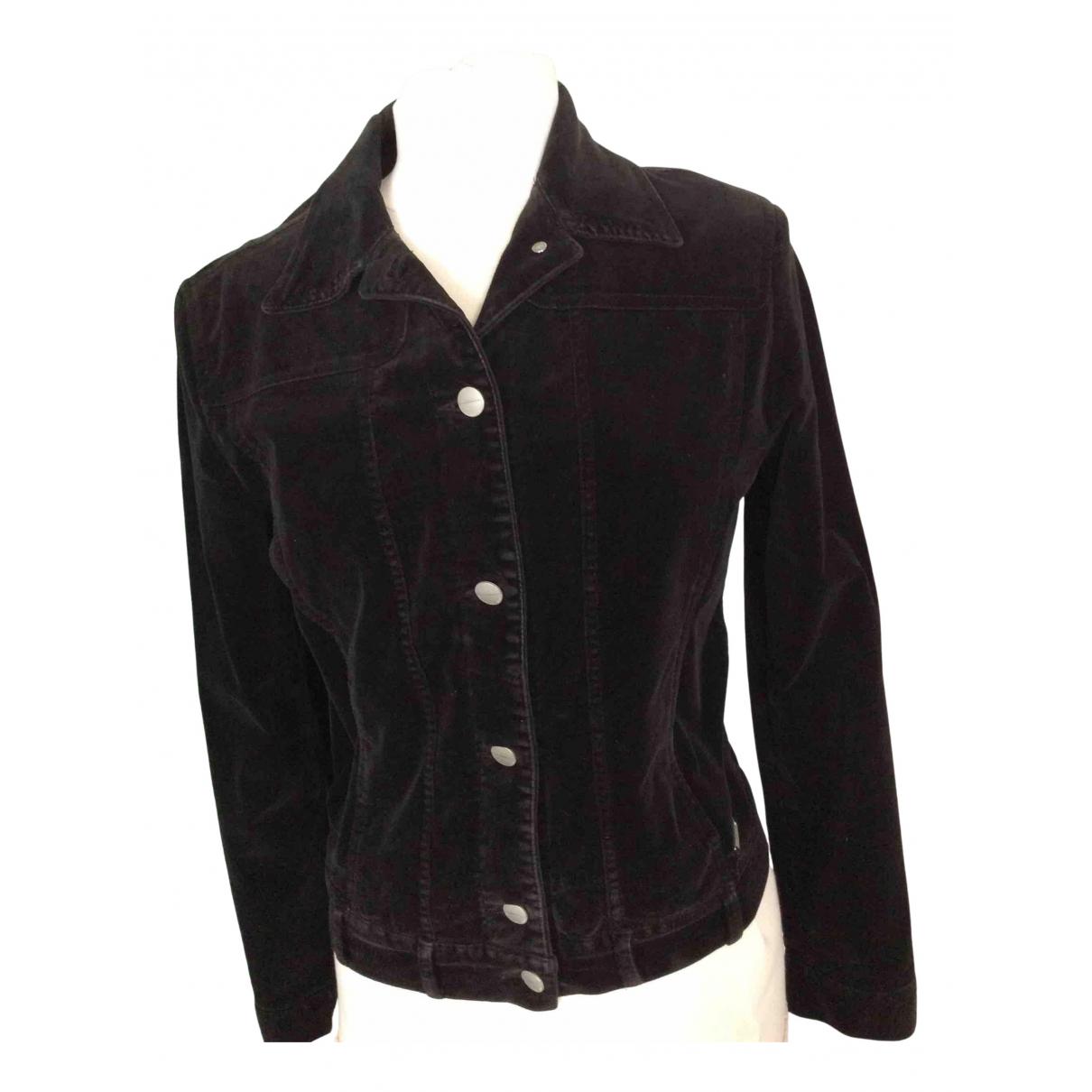 Trussardi Jeans \N Lederjacke in  Schwarz Samt