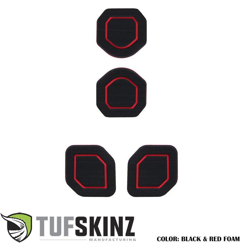 Tufskinz JEP006-FRD-X Interior Cup Holder Inserts Fits 19-Up Wrangler JL 4 Piece Kit Black/Red