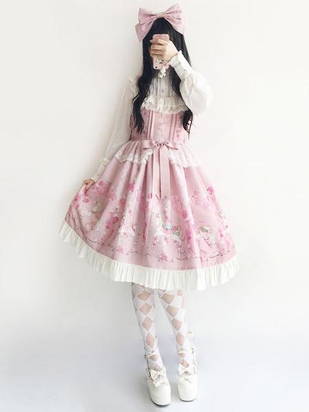 Milanoo Falda de Lolita Fiesta del te sin mangas con estampado de Jacquard sets estilo dulce