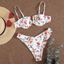 Bikini Badeanzug mit Blumen Muster, V-Ausschnitt und Buegel