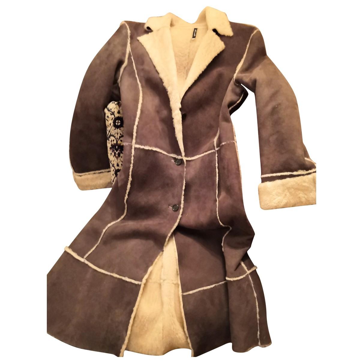 - Manteau   pour femme en suede - marron