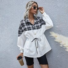 Spliced Plaid Drawstring Waist Coat