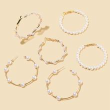 3 pares pendientes de aro con cuenta con perla artificial