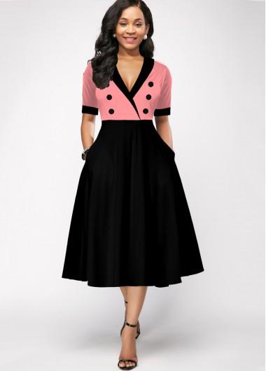 Skater Dresses Side Pocket Cold Shoulder Turndown Collar Dress - 14