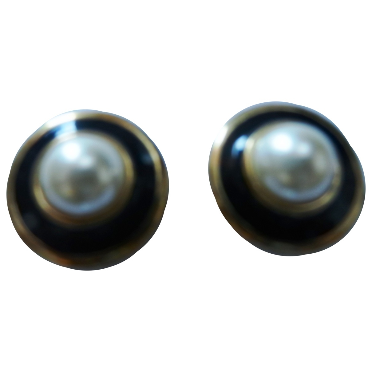 Non Signé / Unsigned Onyx Gold Metal Earrings for Women \N