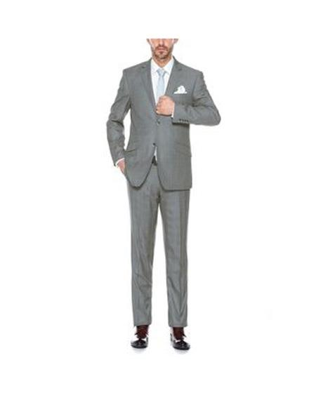 Verno Mens Grey Notch Lapel Plaid Pattern Slim Fit  Suit