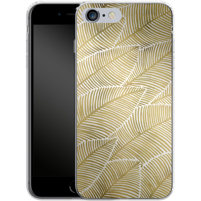 Apple iPhone 6s Plus Silikon Handyhuelle - Tropical Leaves Gold von Cat Coquillette