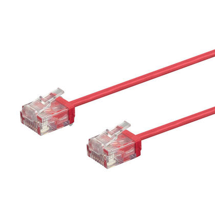 Micro SlimRun 550MHz 36AWG Cat6 UTP Stranded Ethernet Patch Cable - Monoprice® - 1ft, Red