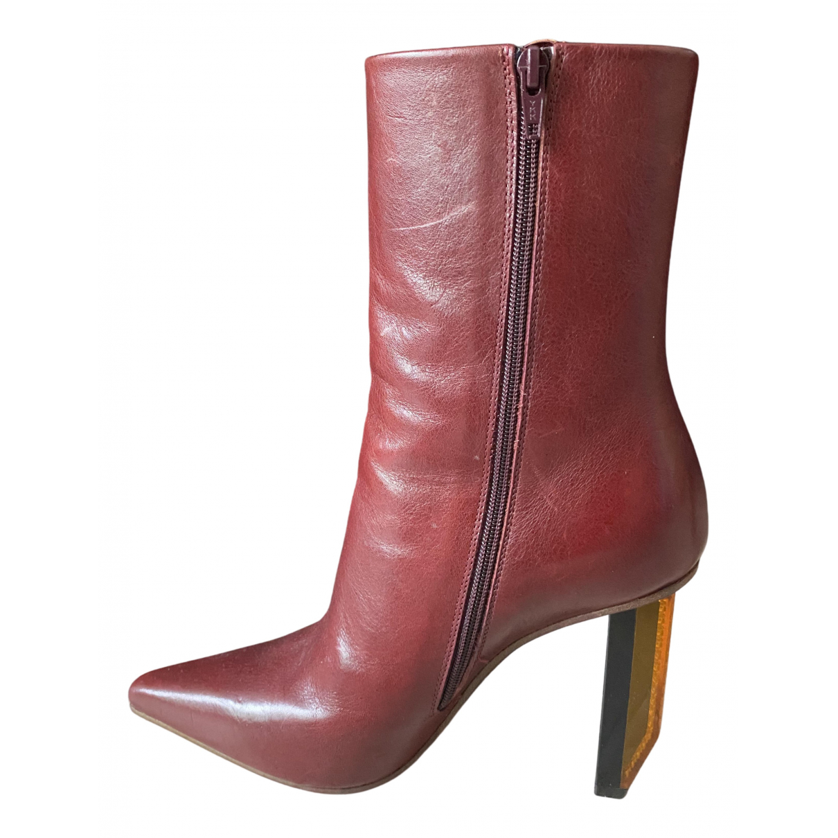Vetements N Burgundy Leather Boots for Women 35 EU
