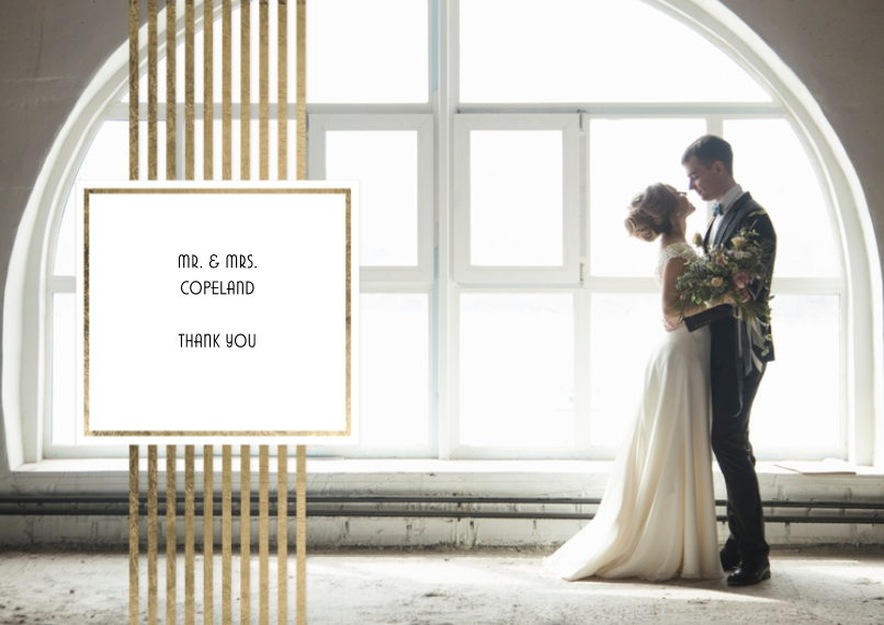 Wedding Thank You Flat Matte Photo Paper Cards with Envelopes, 5x7, Card & Stationery -Thank You Gold Stripes