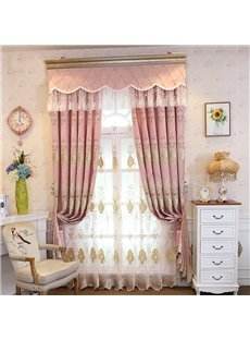 Pink Embroidery Floral Curtain Royal Custom Sheer Curtain for Living Room