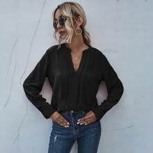 Notched Neck Pleated Detail Blouse