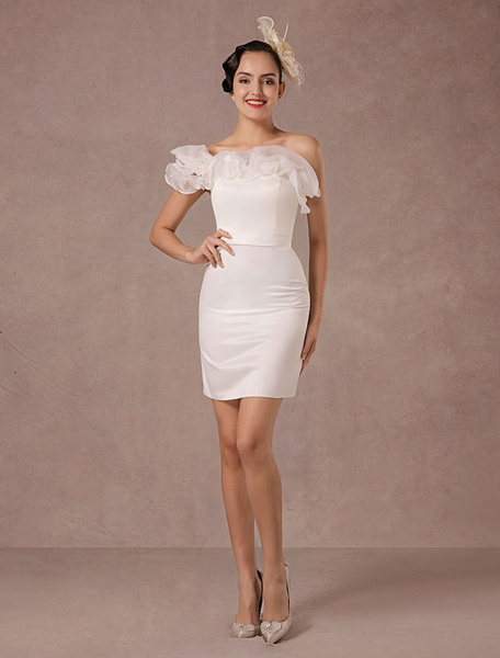 Milanoo Short Wedding Dress Organza Off-the-shoulder Ruffles Sheath Mini Bridal Summer Wedding Dresses 2020