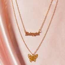 1pc Letter & Butterfly Charm Layered Necklace
