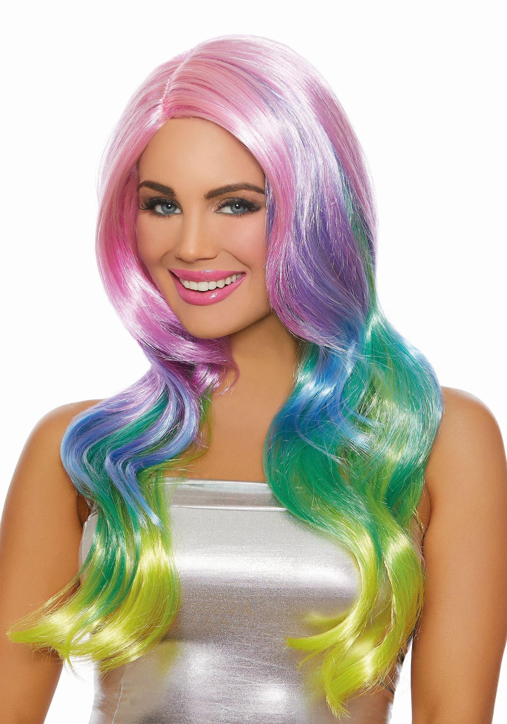 Long Wavy Womens Rainbow Ombre Wig