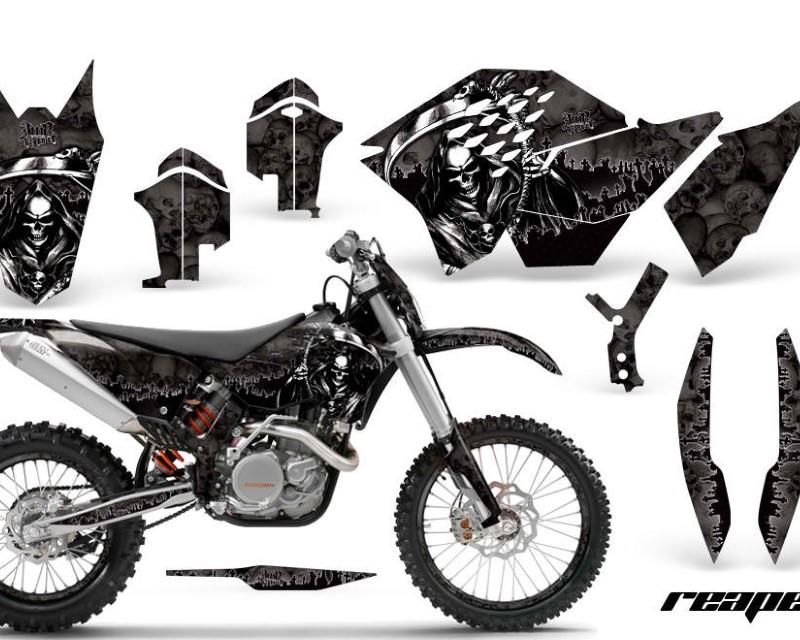 AMR Racing Graphics MX-NP-KTM-C5-07-11-RP K Kit Decal Wrap + # Plates For KTM SX/XCR-W/EXC/XC/XC-W/XCF-W 2007-2011áREAPER BLACK