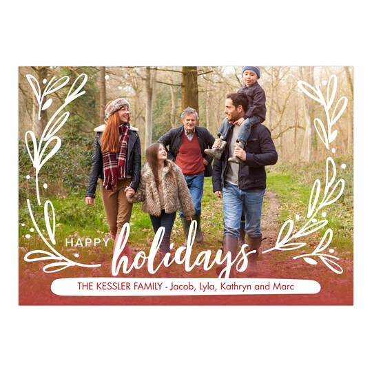 20 Pack of Gartner Studios® Personalized Holiday Flourish Christmas Flat Photo Card in Red | 5