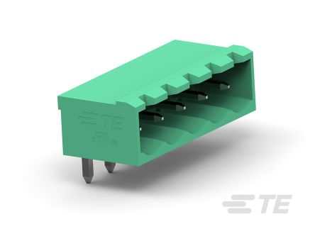 TE Connectivity 5mm Pitch, 6 Way PCB Terminal Block, Green (300)