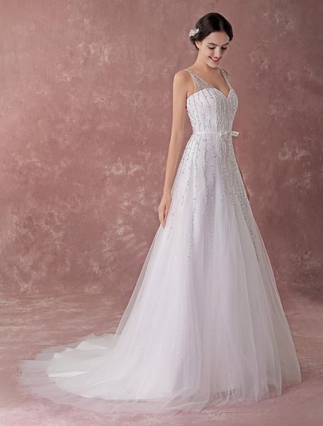 Milanoo Vestidos de novia Sequin A Line V Neck Bow Sash Vestidos de novia con tren