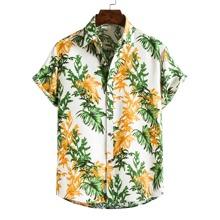 Men Tropical Print Button Up Hawaiian Shirt