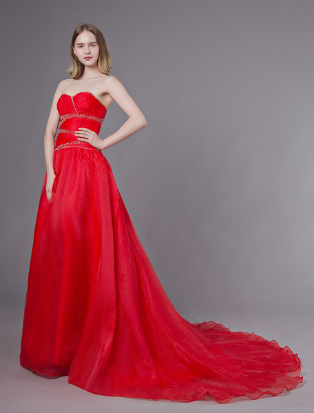 Milanoo Red Wedding Dresses Strapless Organza Beaded Sweetheart Formal Gowns