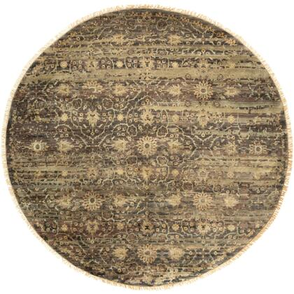 Empress EMS-7010 8' Round Traditional Rug in Dark Brown  Camel  Taupe