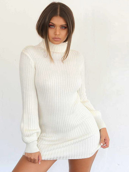Milanoo Knitted Sweater Dress Long Sleeve Turtleneck Shaping Sweater Dress