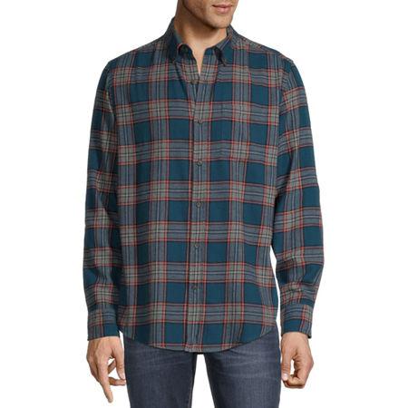 St. John's Bay Super Soft Mens Long Sleeve Flannel Shirt, Xx-large , Green