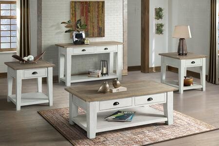 Wyatt Collection 7075-45 Cocktail Table in White and Tan