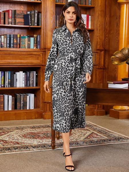 Yoins Grey Leopard Pattern Self-tie Design Long Sleeves Dress