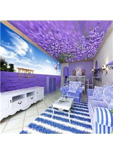 Purple Romantic Lavender Field Pattern Design Combined 3D Ceiling and Wall Murals