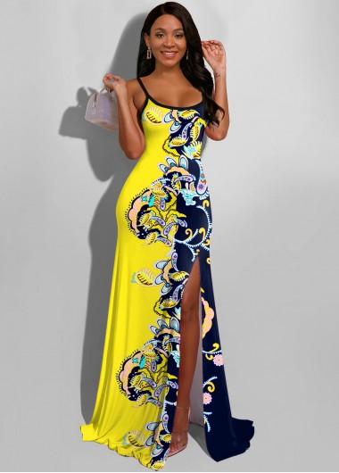 Cocktail Party Dress Paisley Print Side Slit Color Block Maxi Dress - L