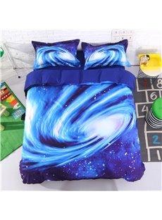 Spiral Galaxy Universe Printed Cotton 3D 4-Piece Blue Bedding Sets/Duvet Covers