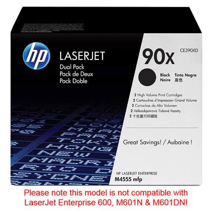 HP 90X CE390XD cartouche de toner originale noire haute capacité, 2/paquet