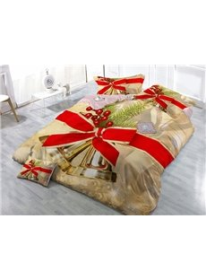 Jingle Bell Christmas Decor Wear-resistant Breathable High Quality 60s Cotton 4-Piece 3D Bedding Sets