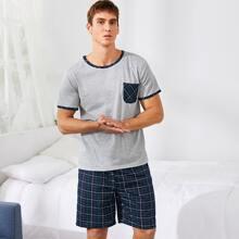 Men Plaid Short Sleeve Tee & Shorts PJ Set