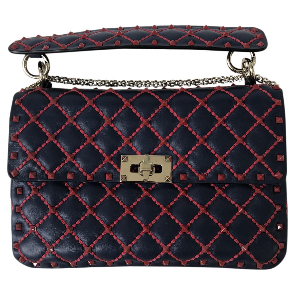 Valentino Garavani Rockstud spike Handtasche in  Blau Leder